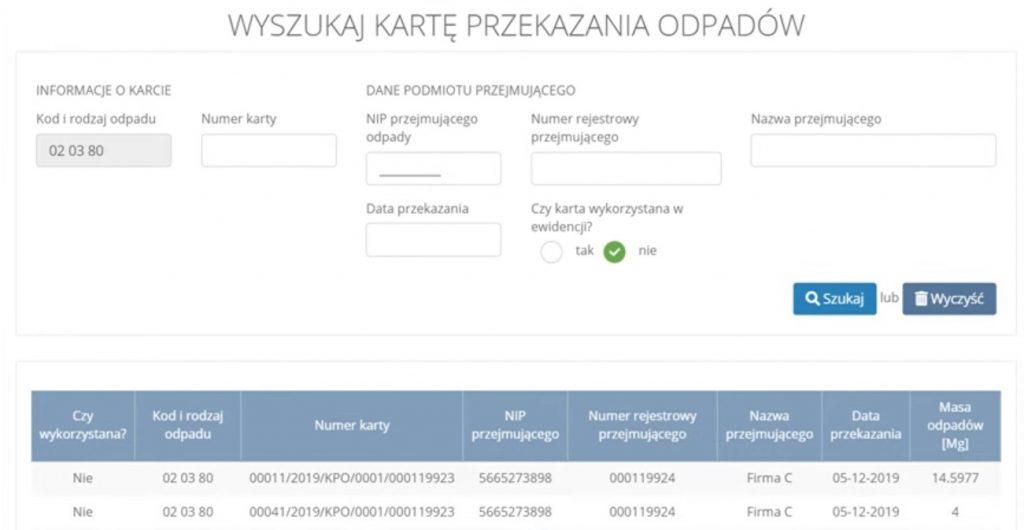 Wyszukiwanie karty przekazania odpadów Przemysł iŚrodowisko