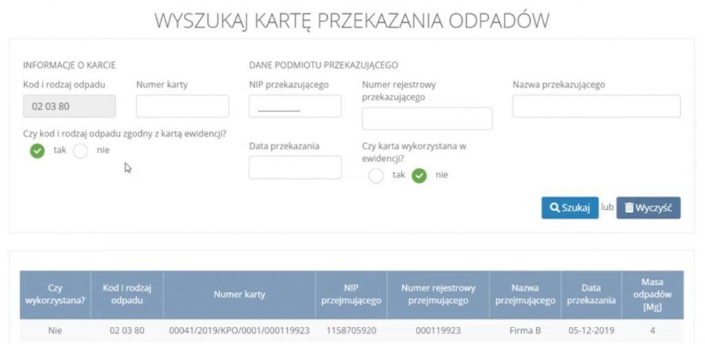 Wyszukiwanie karty przekazania odpadów wsekcji przyjęte Przemysł iŚrodowisko