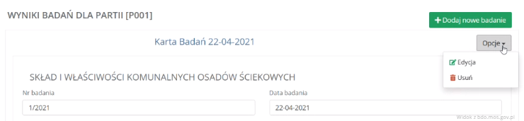 Karta badań osadów ściekowych wBDO Przemysł iŚrodowisko