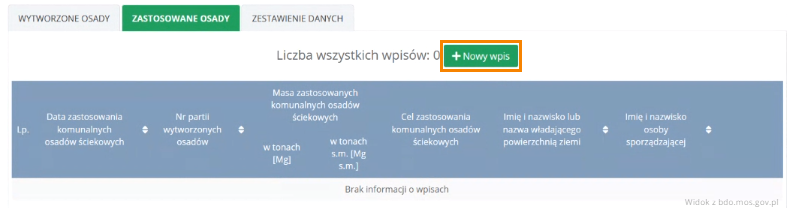 Dodanie nowego wpisu - zastosowane osady Przemysł iŚrodowisko