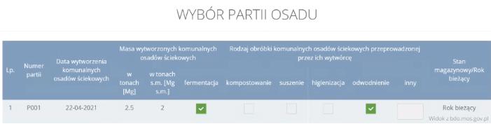 Wybór partii osadu ściekowego wBDO Przemysł iŚrodowisko