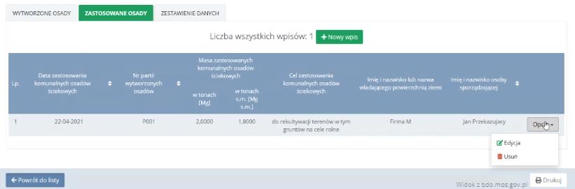 Lista wpisów wBDO - zastosowane osady Przemysł iŚrodowisko